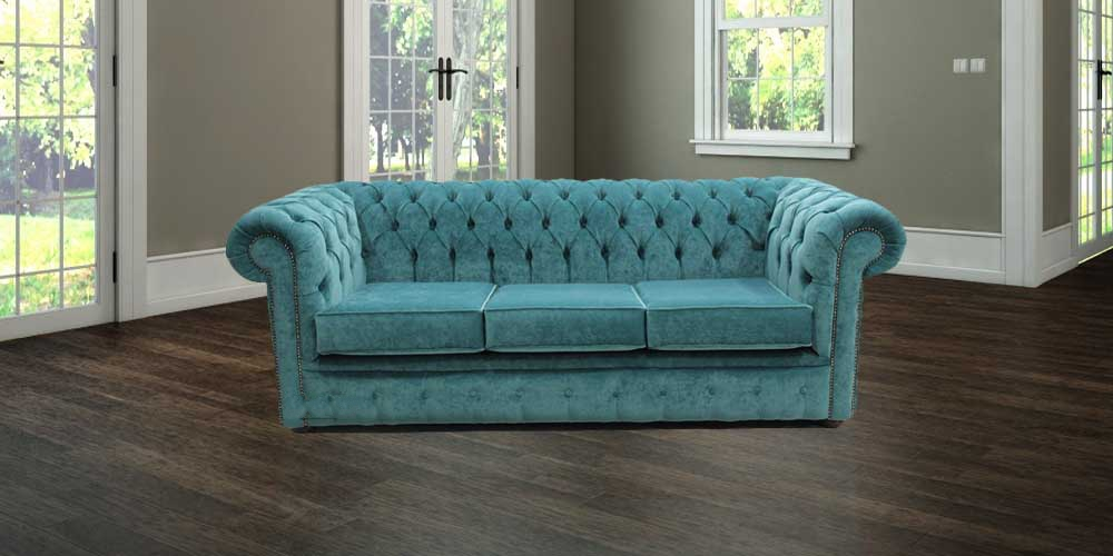 Teal Blue Velvet Chesterfield Sofa Designersofas4u