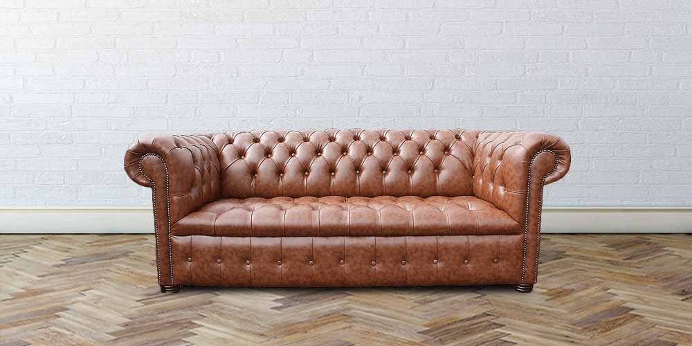 Buy Teak Faux Leather Chesterfield Sofa Designersofas4u
