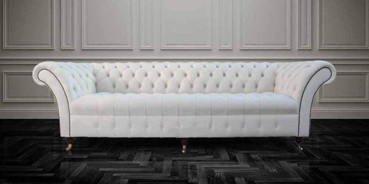 Buy Cream Leather Chesterfield Balmoral Sofas Online