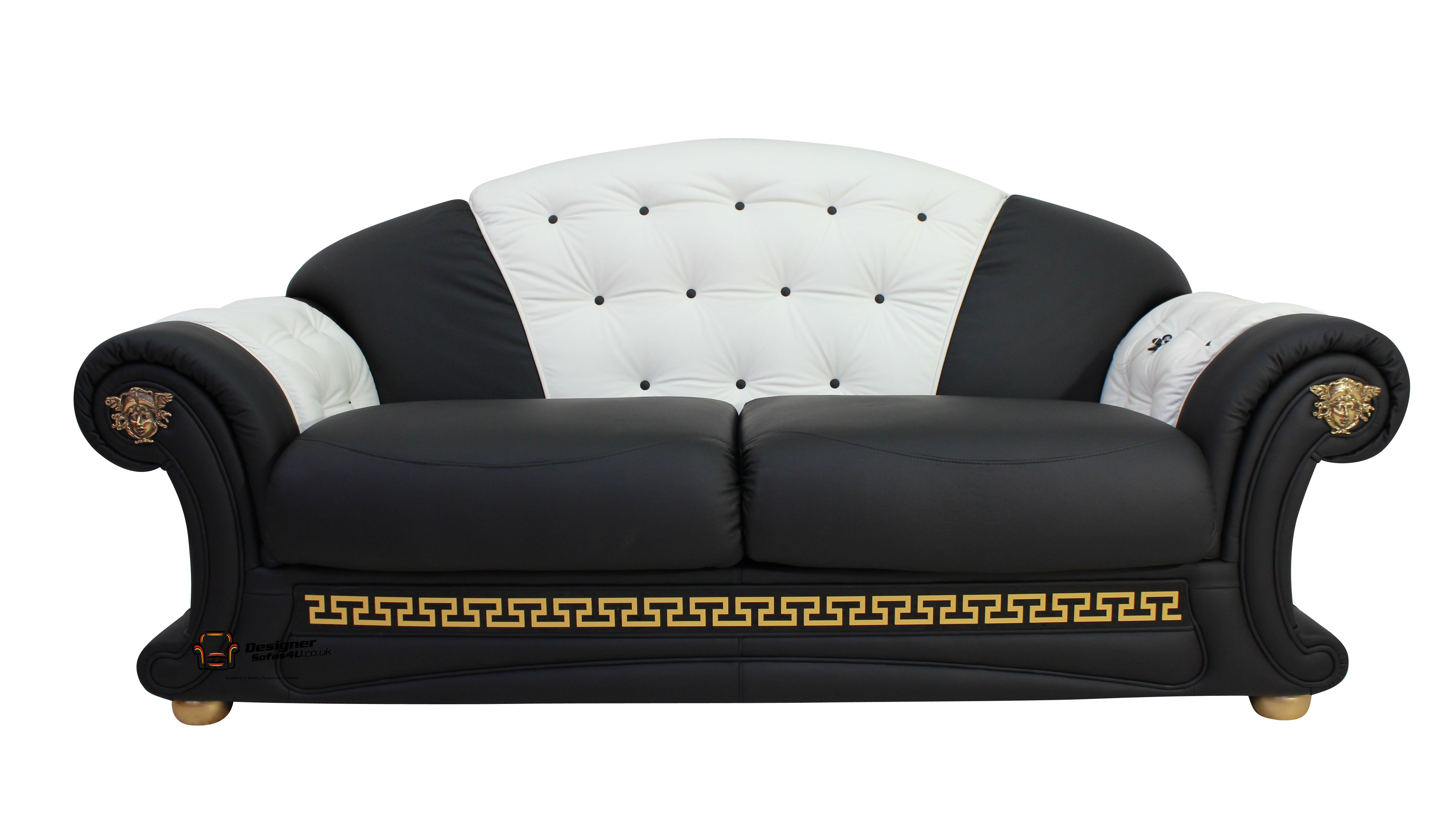 Versace 3 seater sofa settee genuine italian black white Versace sofa