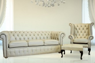 Chesterfield Cream Leather Sofa Offer 3+1+ Footstool HI