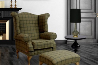 Chesterfield Edward Queen Anne Wool Tweed Althrop Topaz Wing Chair Fireside High Back Armchair + Footstool HI