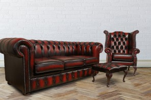 Chesterfield Leather Oxblood Sofa 3+Wing+Footstool HI