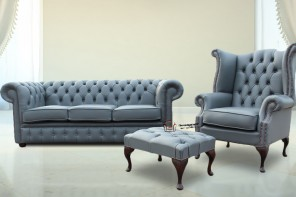 Chesterfield Soft Vele Iron Grey Leather Sofa Offer 3+1+ Footstool HI