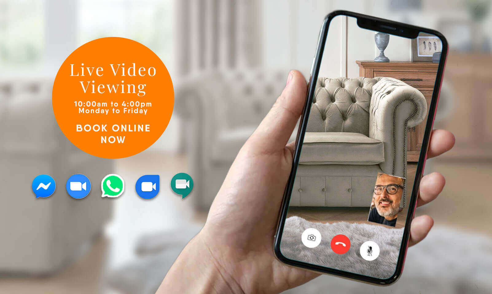 FREE Personalised Virtual Live Video Viewing at Designer Sofas 4U