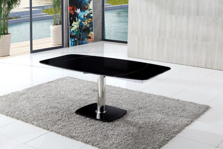 Massimo Extended Black Glass Dining Table