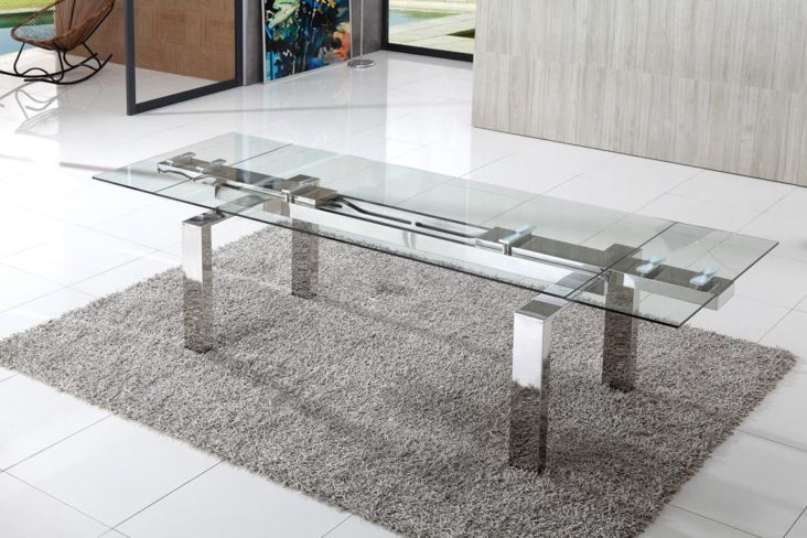 Kendal Extending Clear Glass Dining Table