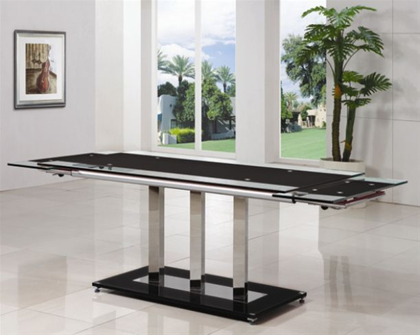 Askella Extending Black Glass Dining Table