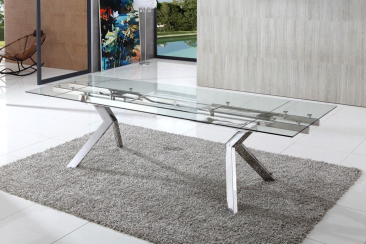 Hampshire Extended Clear Glass Dining Table
