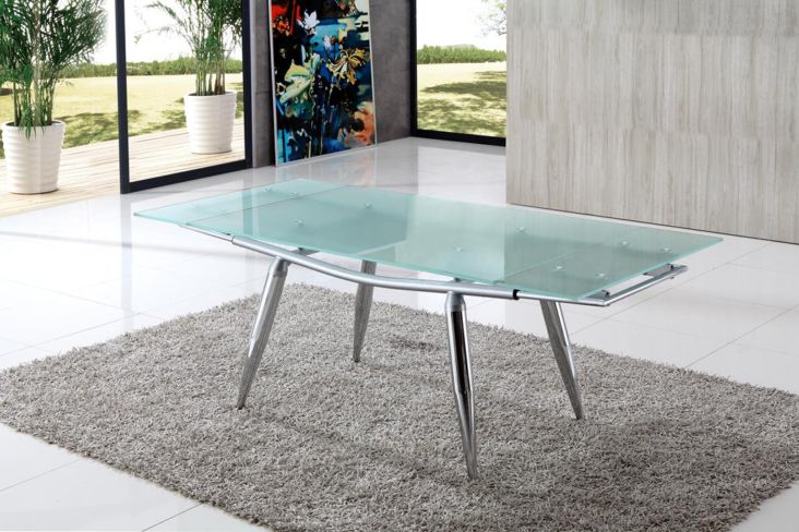 Piston Frosted Extending Glass Dining Table