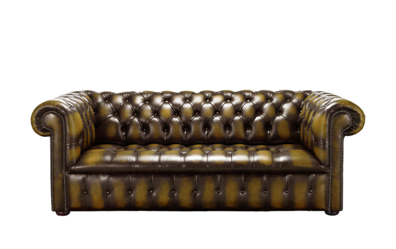 Chesterfield Edwardian 3 Seater Buttoned Seat Sofa Antique Gold Leather