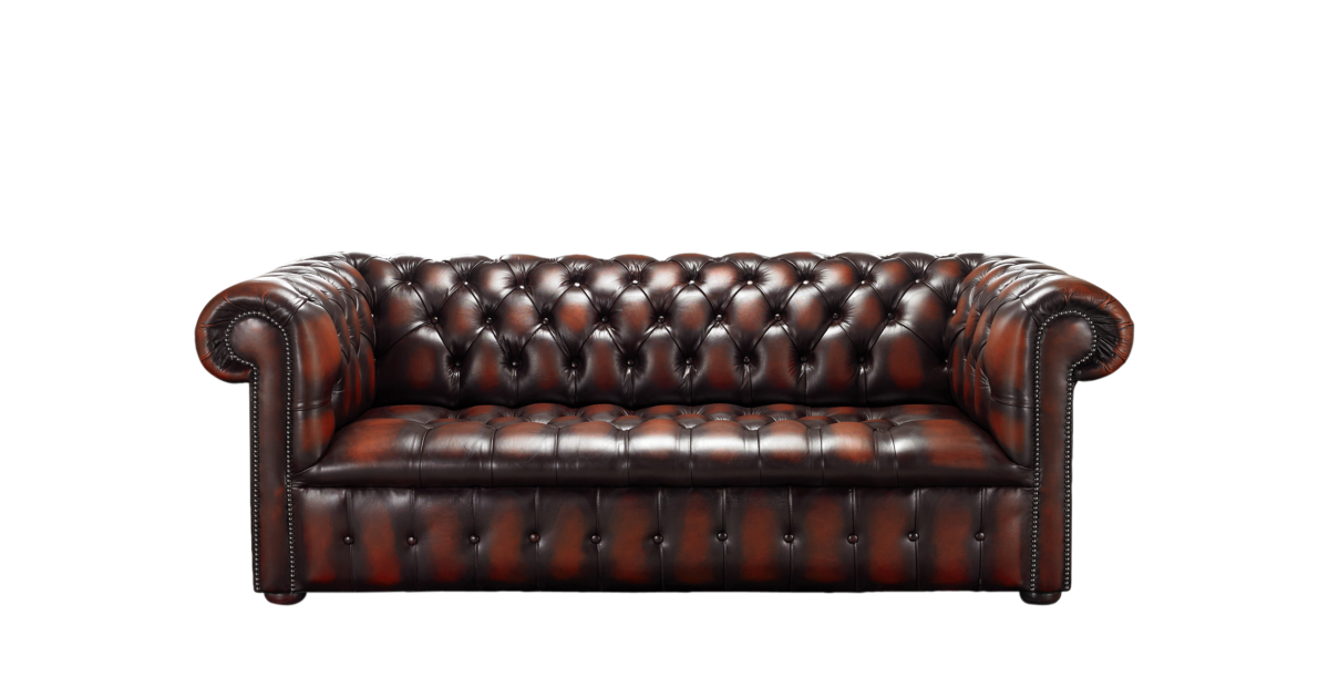 Rust Chesterfield Buttoned Seat 3 Seater Sofa