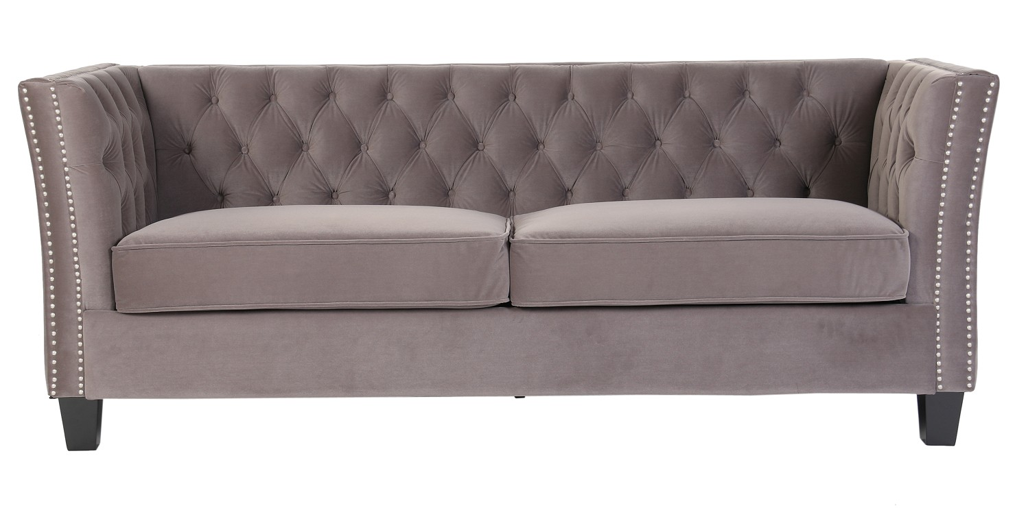 Picture of: Flat Pack Grey Chesterfield York 3 Seater Velvet Fabric Sofa Self Assembly Designer Sofas 4u