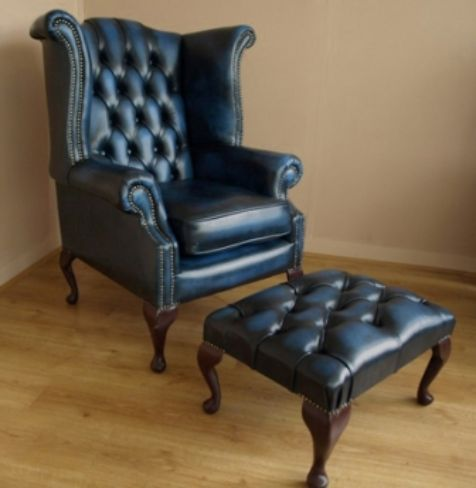 Blue Leather Chesterfield Queen Ann Chair and Footstool - Designer Sofas 4U