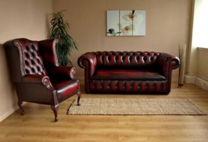 Quality UK Chesterfield Leather Sofa and Queen Ann Chair by Designer Sofas 4U