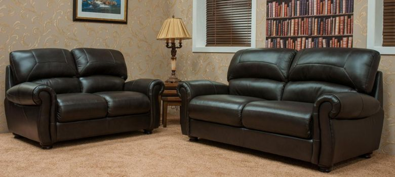 Cambridge 3+2 Seater Leather Sofa Suite Available In Chestnut Or Dark Brown