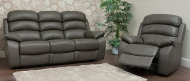 Picasso Reclining 3+1 Seater Leather Sofa Suite Available In Grey