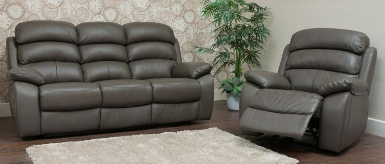 Picasso Reclining 3+1+1 Seater Leather Sofa Suite Available In Grey