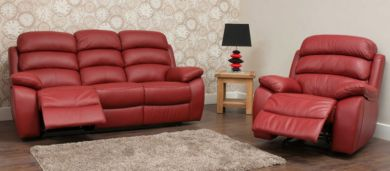 Picasso Reclining 3+1 Seater Leather Sofa Suite Available In Red
