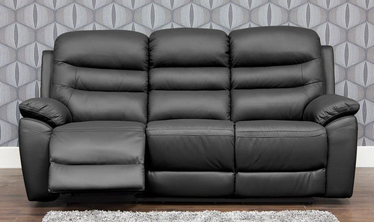 Romano Reclining 3 Seater Leather Sofa Available In Black