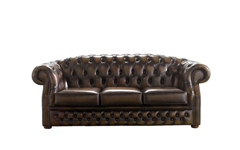 Chesterfield Buckingham 3 Seater Antique Brown Leather Sofa Offer