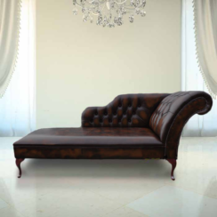 Chesterfield Leather Chaise Lounge Day Bed Antique Brown
