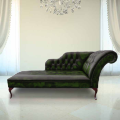 Chesterfield Leather Chaise Lounge Day Bed Antique Green