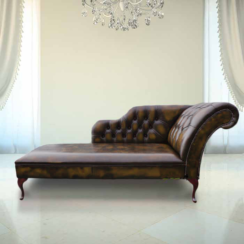 Chesterfield Leather Chaise Lounge Day Bed Antique Tan