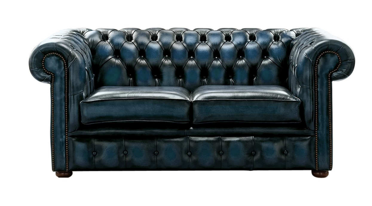 Marvelous Chesterfield 2 Seater Antique Blue Leather Sofa Settee Gmtry Best Dining Table And Chair Ideas Images Gmtryco