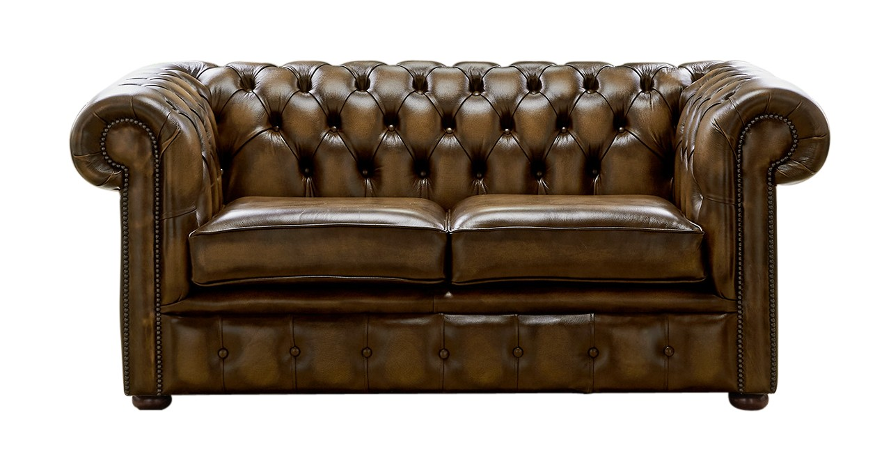 Admirable Chesterfield 2 Seater Antique Gold Leather Sofa Settee Gmtry Best Dining Table And Chair Ideas Images Gmtryco