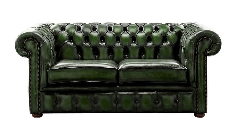 - DesignerSofas4U Antique Green Leather Chesterfield Sofa