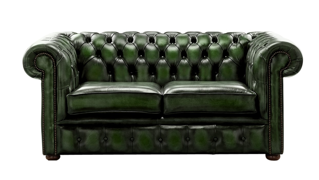 Chesterfield 2 seater sofa antique green leather