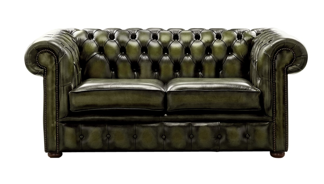 Designersofas4u Antique Olive Leather Chesterfield Sofa