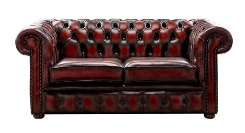 Chesterfield 2 Seater Antique Oxblood Leather Sofa Settee