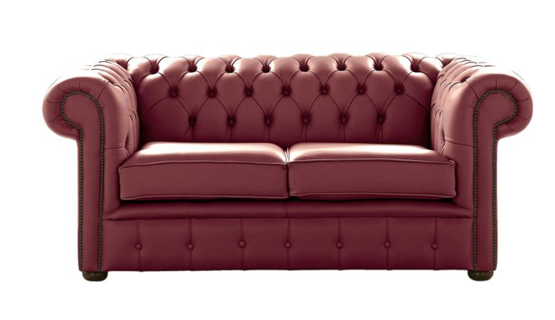 Chesterfield 2 Seater Burgandy Leather Sofa Settee