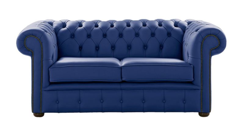 Chesterfield 2 Seater Deep Ultramarine Blue Leather Sofa Settee