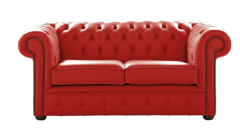 Image of Chesterfield 2 Seater Shelly Flame Red Leather Sofa Settee
