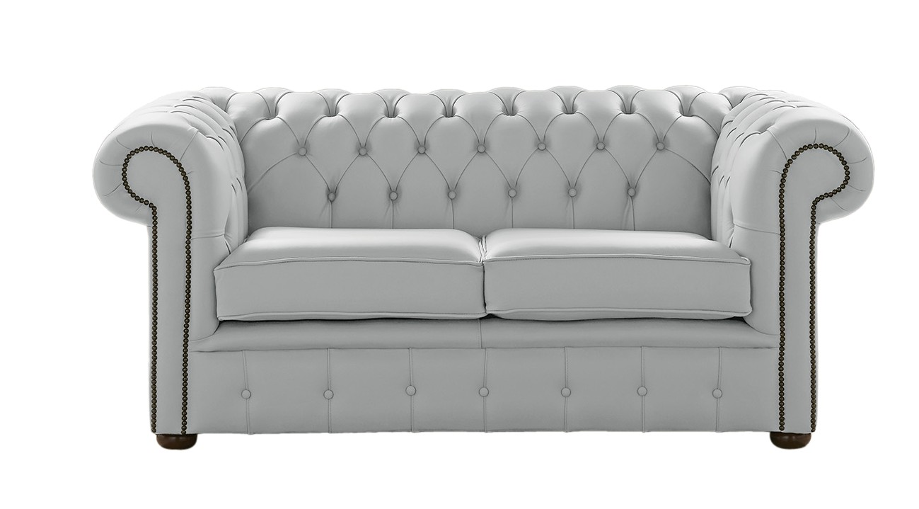 Picture of: Designersofas4u Silver Grey Leather Chesterfield Sofa