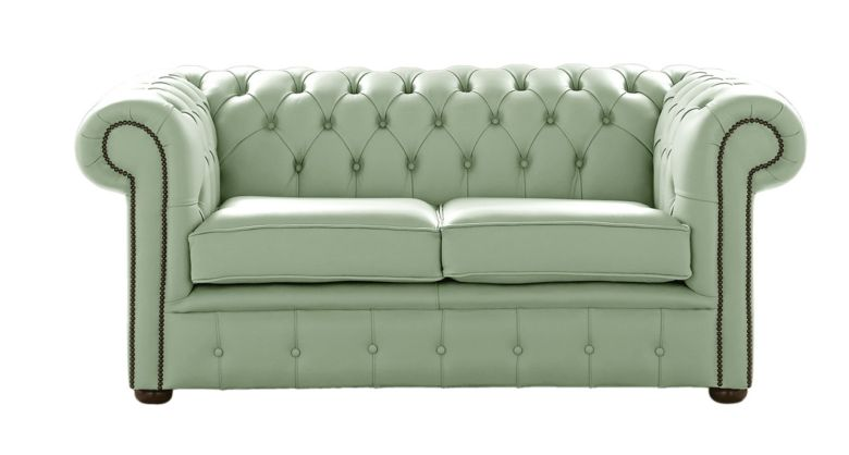 Chesterfield 2 Seater Shelly Thyme Green Leather Sofa Settee