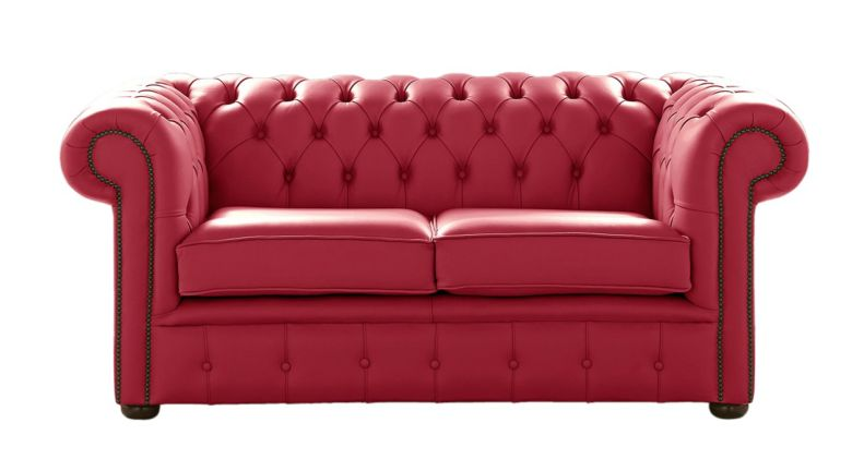 Chesterfield 2 Seater Shelly Velvet Red Leather Sofa Settee