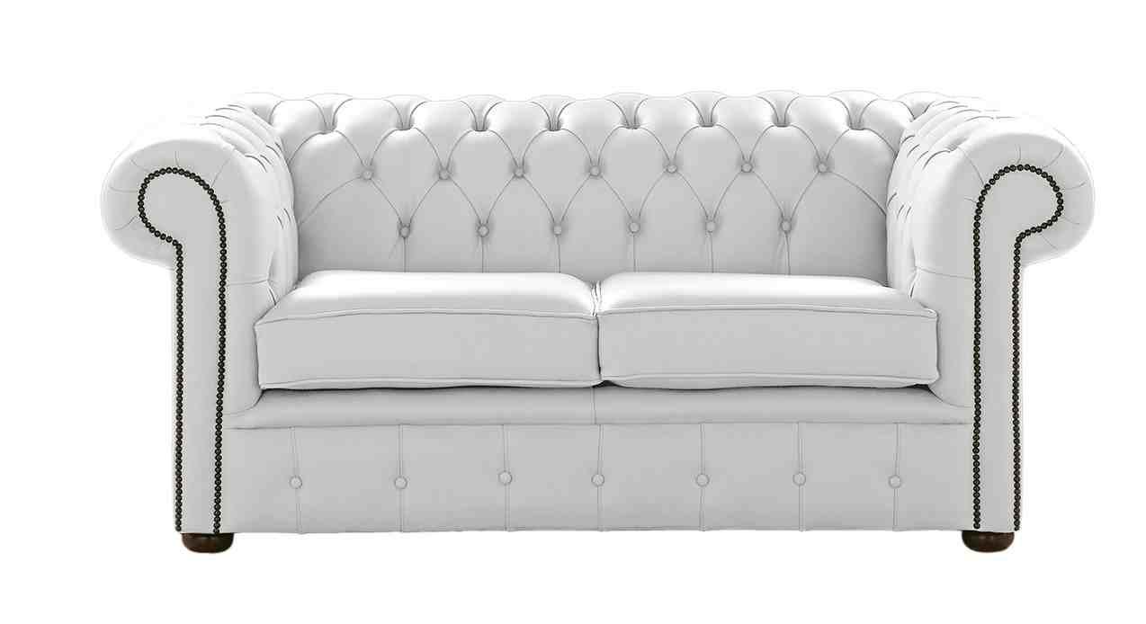 - DesignerSofas4U White Leather Chesterfield Sofa