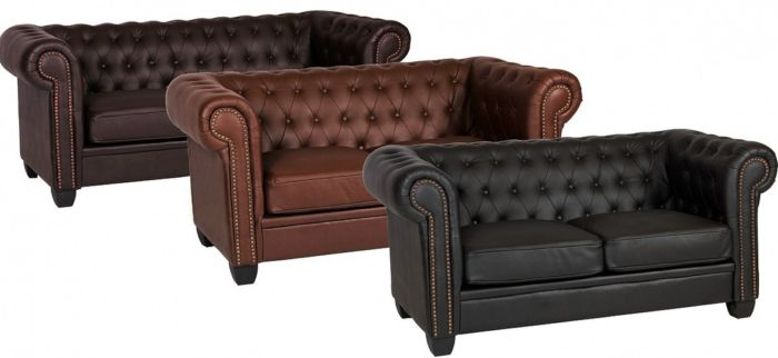 Chesterfield Winston 2 Seater Sofa Settee Available In Black, Brown And Auburn Red