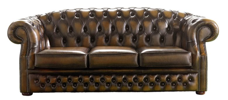 Chesterfield Handmade Buckingham 3 Seater Antique Tan Leather Sofa