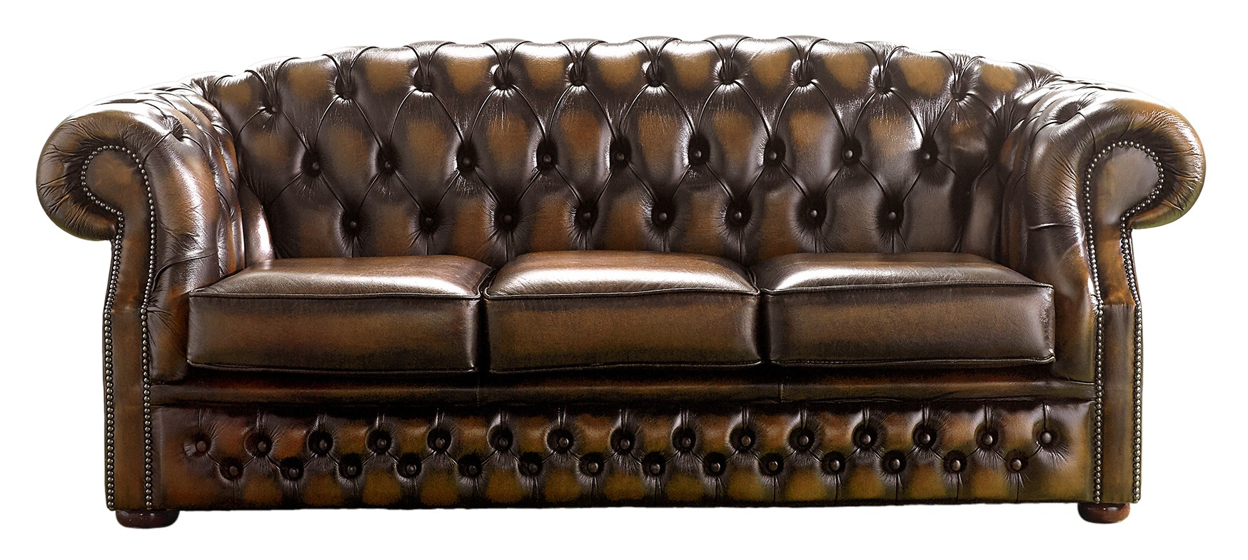 Chesterfield Handmade Buckingham 3 Seater Sofa Antique Autumn Tan Leather