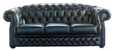 Chesterfield Handmade Buckingham 3 Seater Antique Blue Leather Sofa