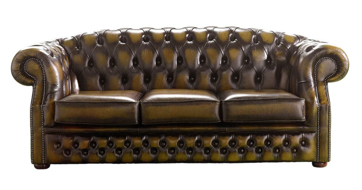 chesterfield buckingham 3 seater gold leather sofa offer