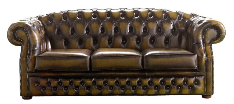 Chesterfield Handmade Buckingham 3 Seater Gold Leather Sofa