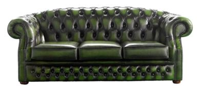 Chesterfield Handmade Buckingham 3 Seater Antique Green Leather Sofa