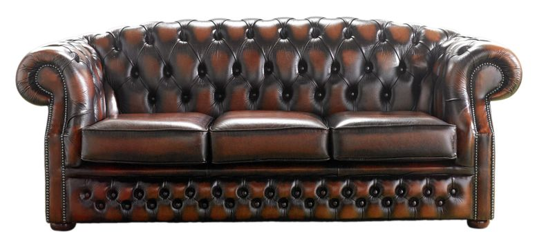 Chesterfield Handmade Buckingham 3 Seater Antique Light Rust Leather Sofa
