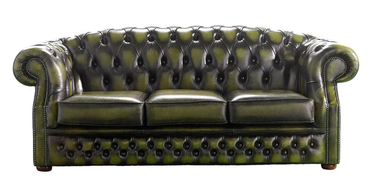 Chesterfield Buckingham 3 Seater Antique Olive Leather